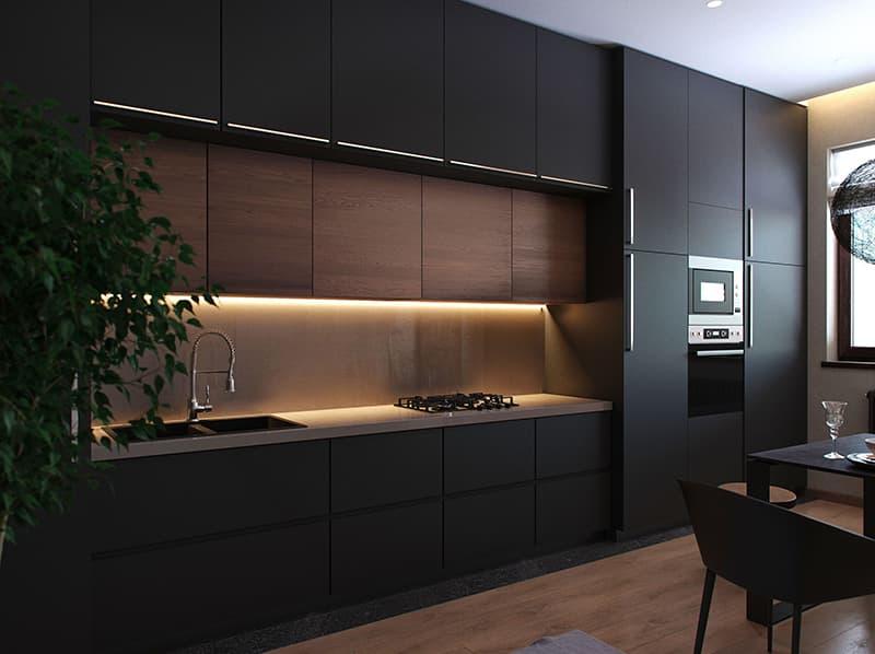 Мебель с тремя уровнями на кухне