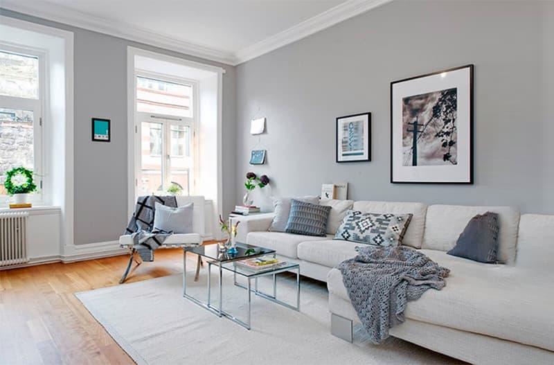 Нейтральный цвет стен в гостиной