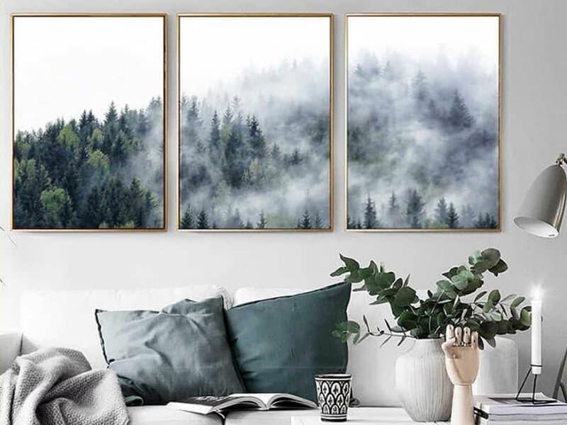 Оформление интерьера гостиной с помощью модульных картин