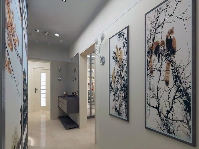Оформление интерьера коридора с использованием картин