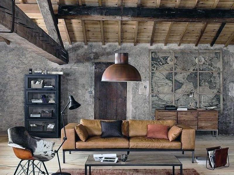 Оформлення кімнати в стилі лофт з використанням картин