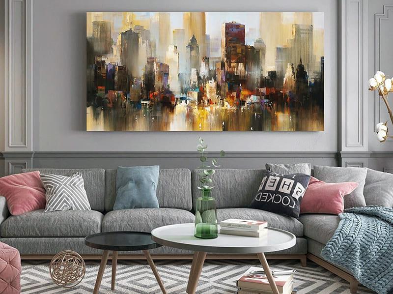Пример одинарной картины в интерьере комнаты