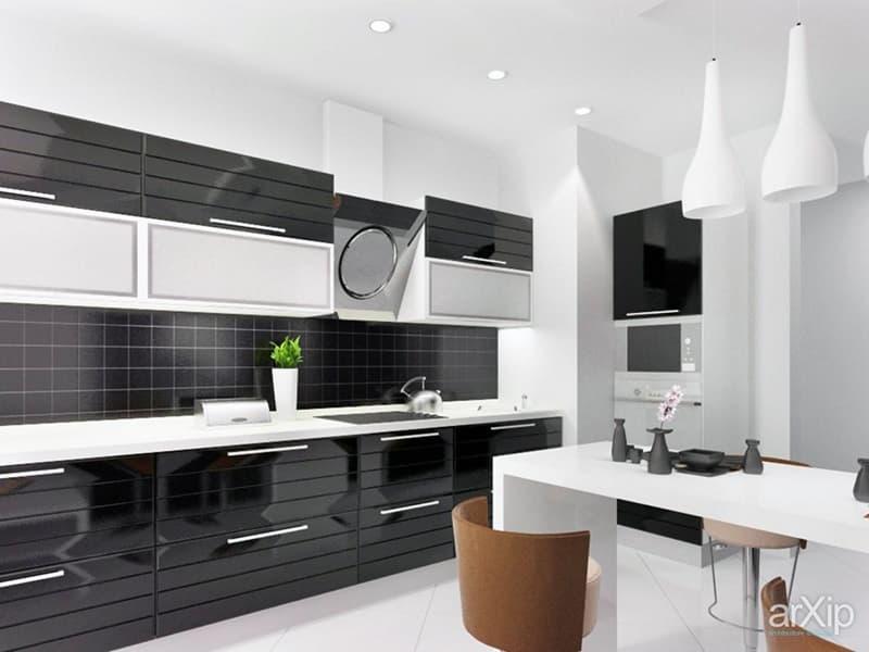 Пример оформления кухни в черных тонах