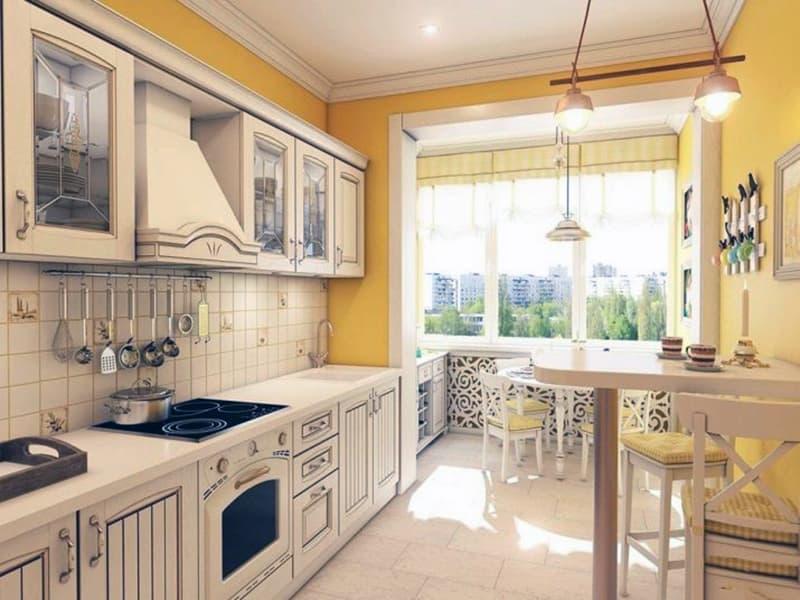 Расширенная кухня за счет балкона