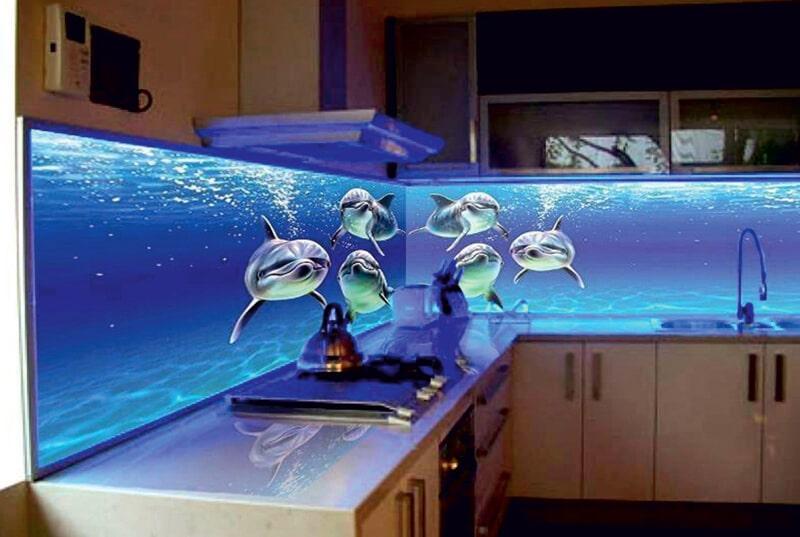 Стеклянный фартук для кухни с 3Д эффектом
