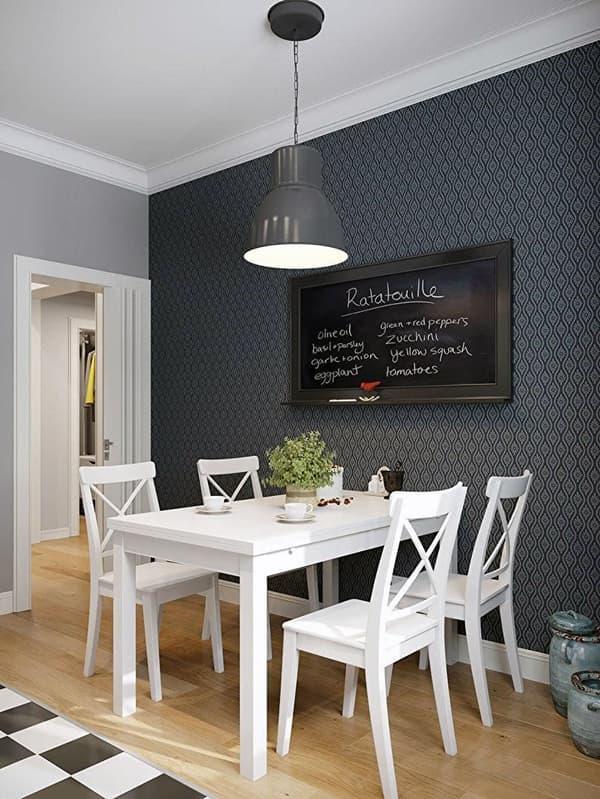Уникальный дизайн стен кухни в темных тонах