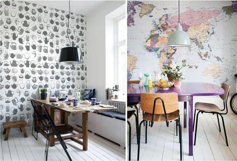 Яркий дизайн стен в интерьере кухни