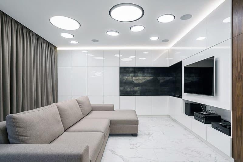 Декор і інтер'єр вітальні в стилі мінімалізм