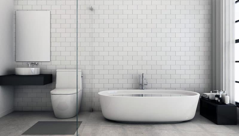 Мінімалістичний ванна кімната з перегородкою