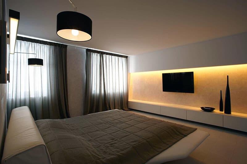 Спальня оформленная в стиле минимализм