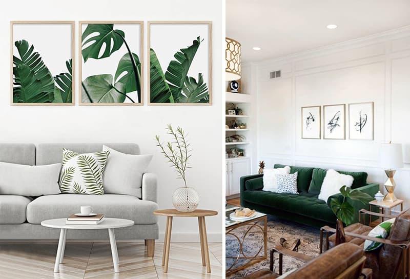 Стильная комната с картинами на стене