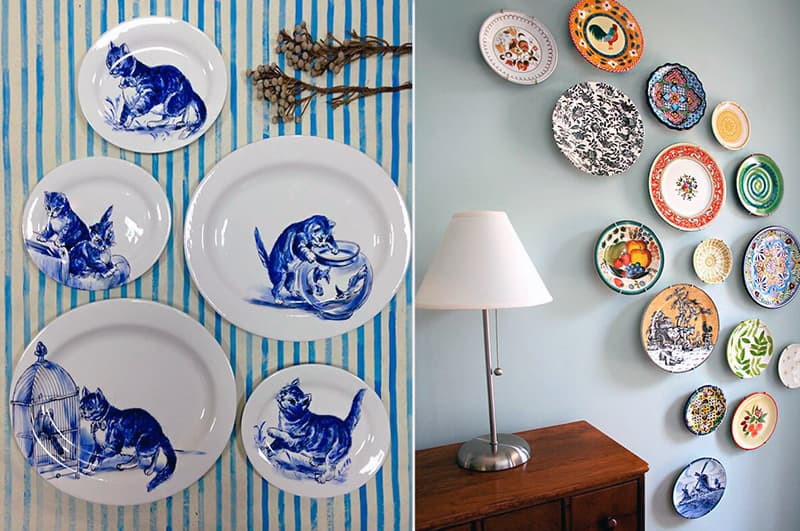 Украшение стен квартиры тарелками