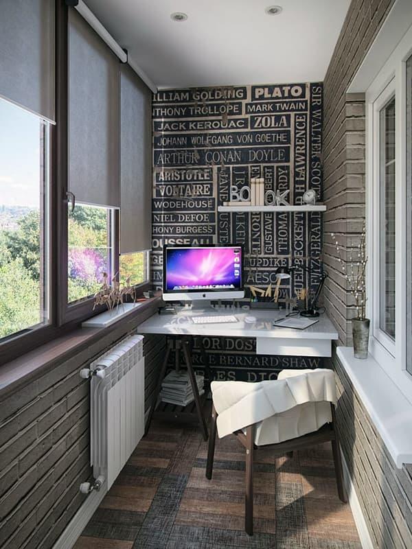 Дизайн рабочего кабинета на балконе квартиры