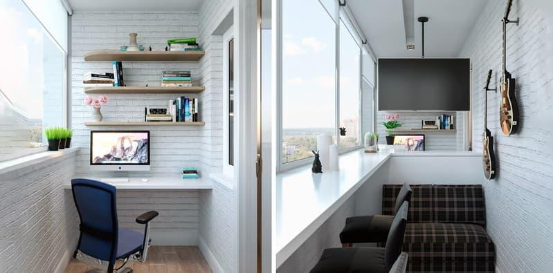 Как оформить рабочий кабинет на балконе