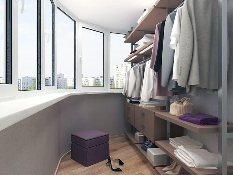 Как сделать из балкона гардеробную