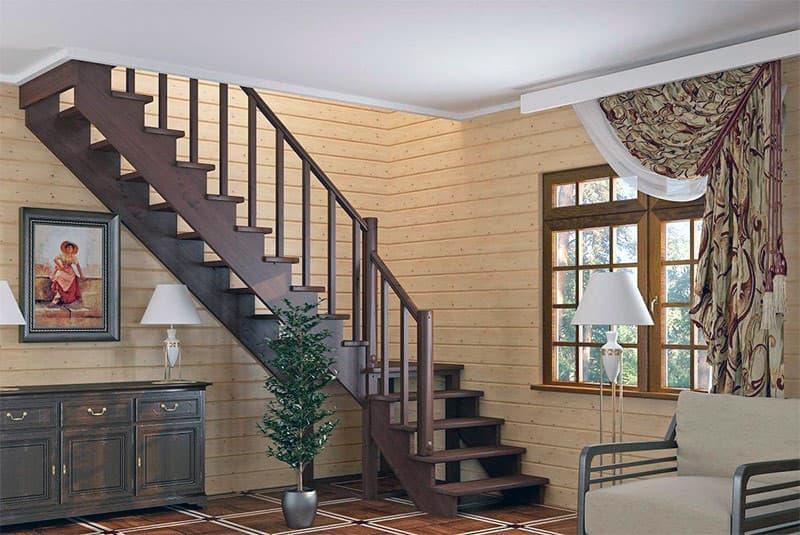 Лестница с прямым углом в доме