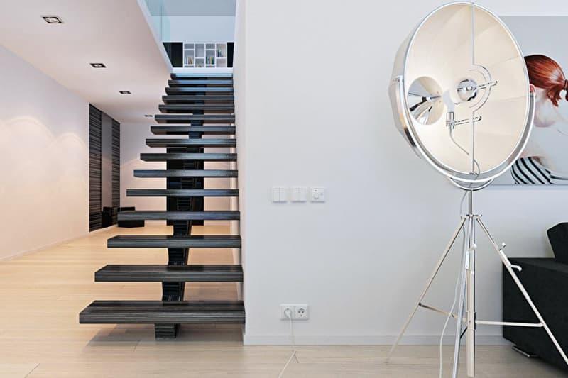Лестница в стиле минимализм в интерьере дома