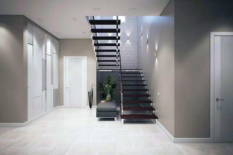 Минималистичная лестница в дизайне интерьера