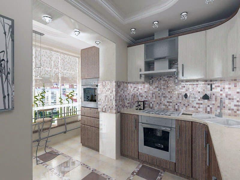 Оформлення балкона об'єднаного з кухнею