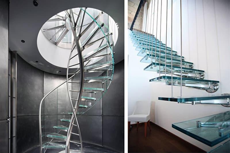 Примеры лестниц из стекла в дизайне интерьера