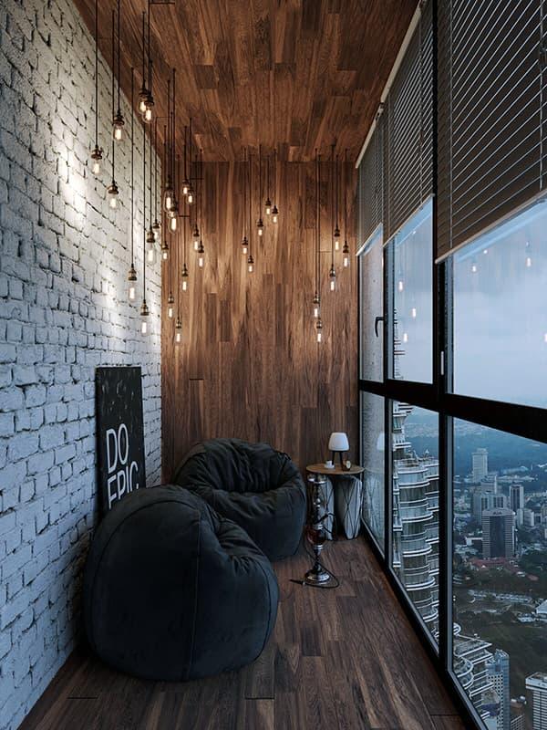 Просторный балкон с интерьером в стиле лофт