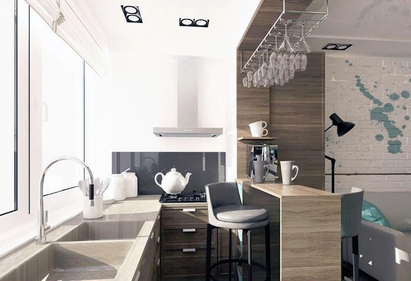 Рабочая кухонная зона на лоджии