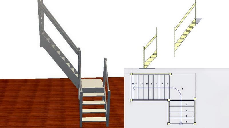 Схема лестницы в форме буквы Г