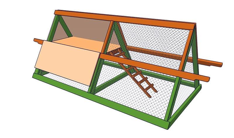 Схема устройства переносного курятника