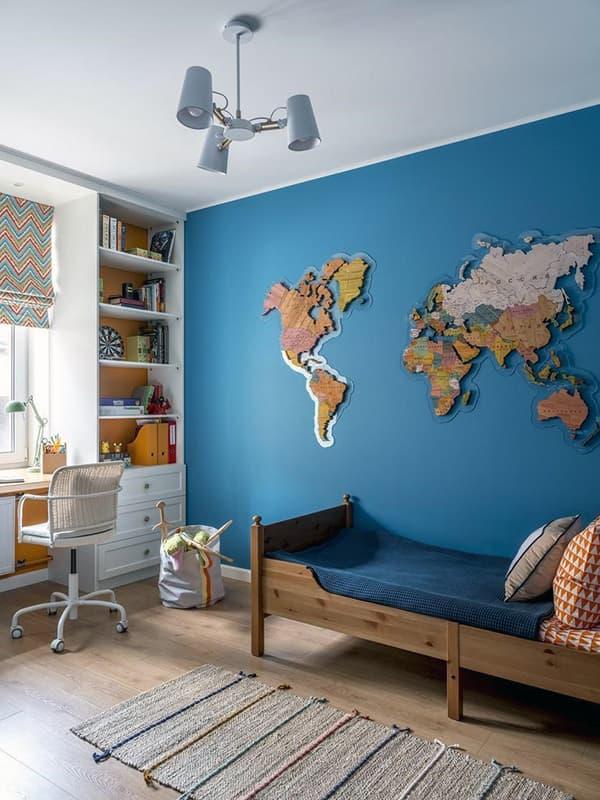 Покраска стен в детской комнате в синий цвет
