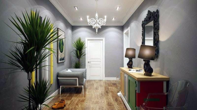 Пример оформления стен в прихожей комнате