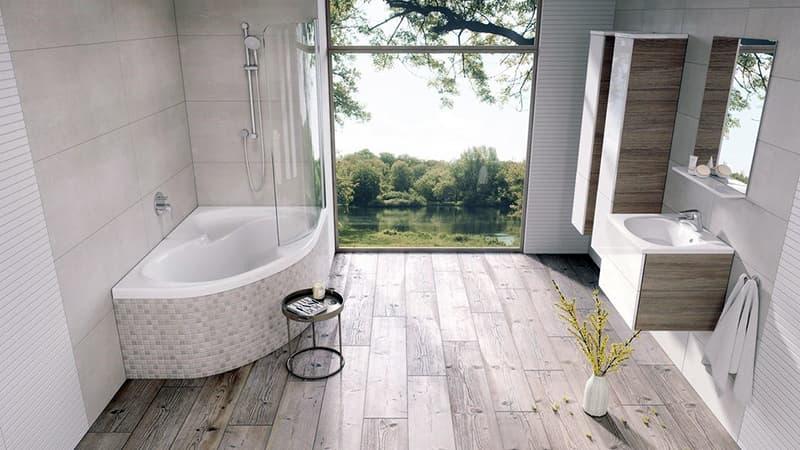 Симбіоз минималистичной і рустикальной тенденцій у ванній