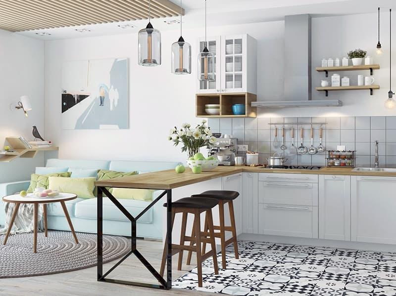 Практичная кухня в скандинавском стиле