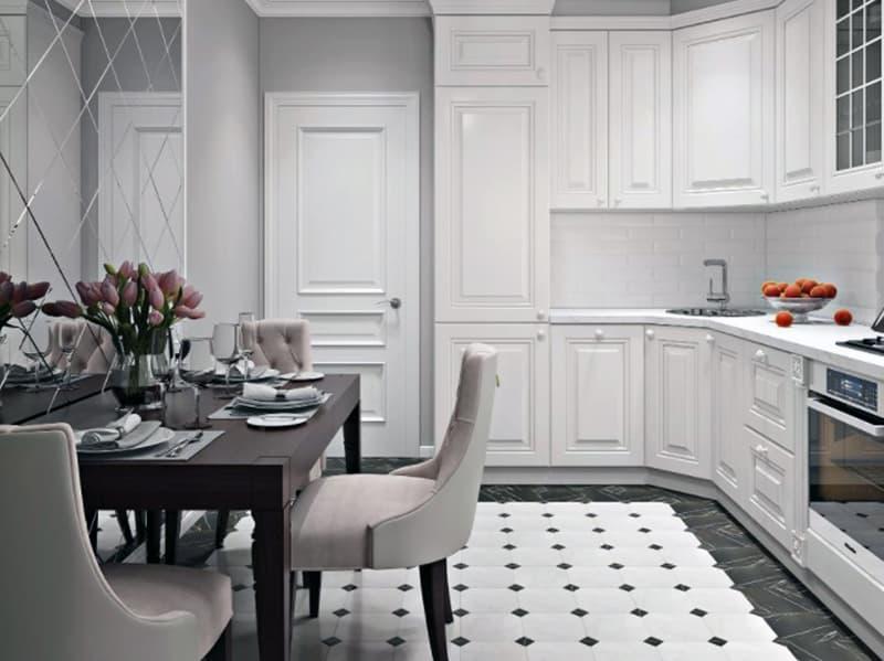 Пример дизайна кухни в неоклассическом стиле