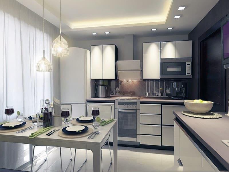 Пример оформления освещения на кухне