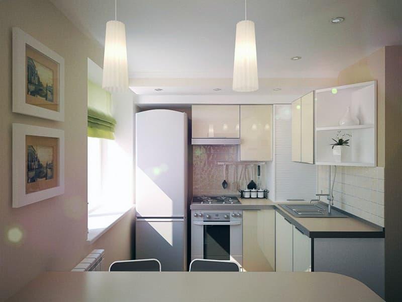 Пример оформления потолка в кухне
