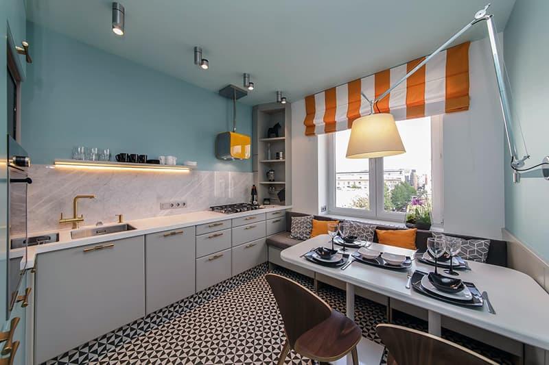 Расположение осветительных приборов на кухне