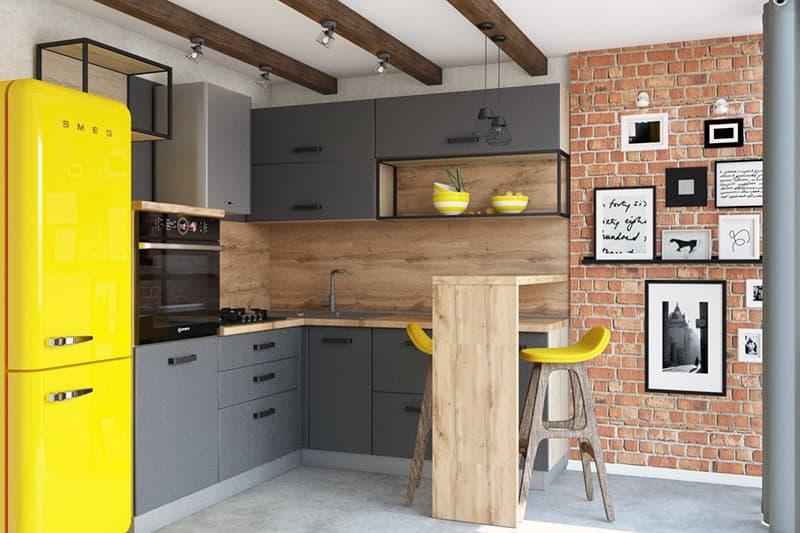 Стильный дизайн кухни в стиле лофт