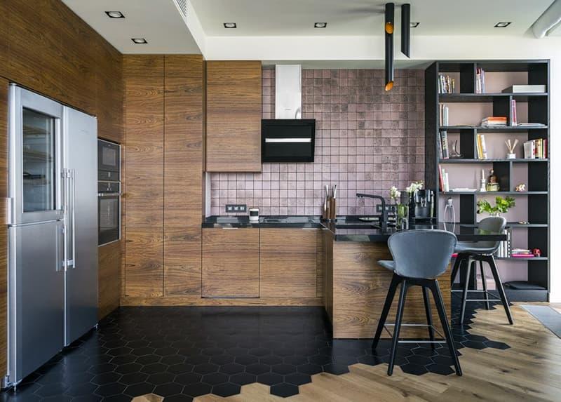 Яркий дизайн пола на кухне