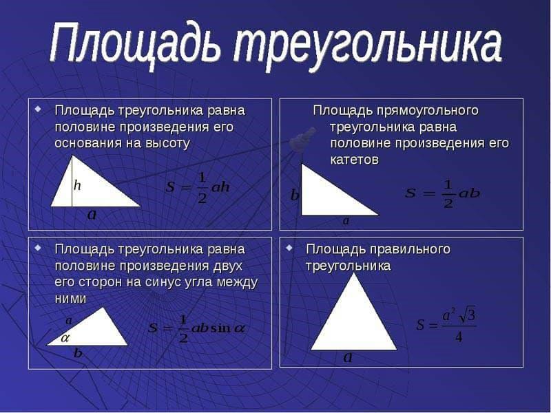 Формулы площади треугольника
