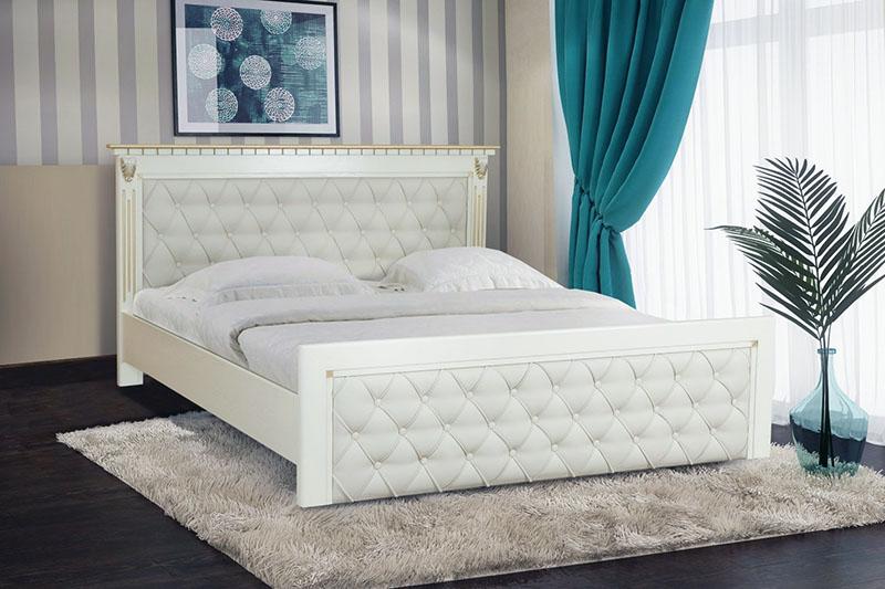 Ліжко з тканинним узголів'ям для спальні