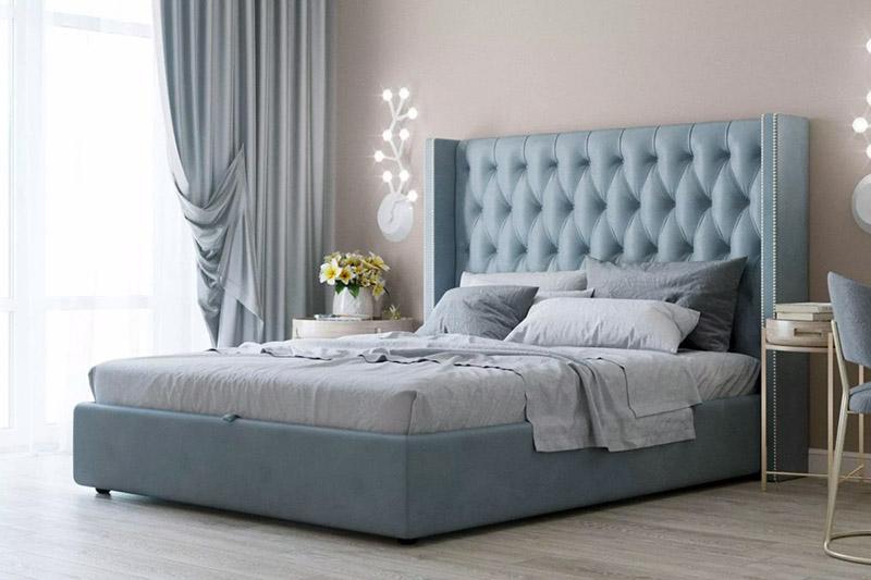 Ліжко з високим узголів'ям для спальні