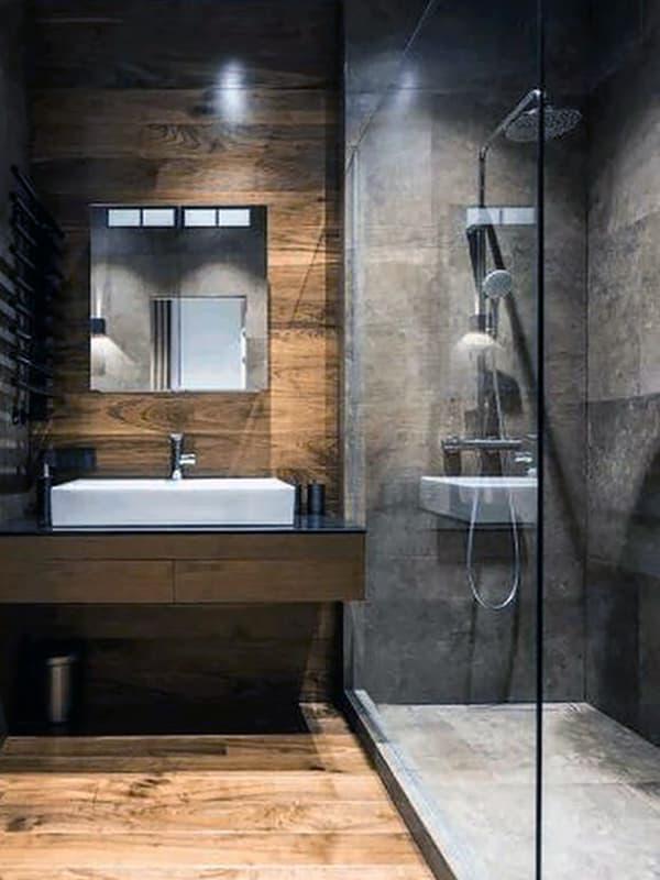 Открытая душевая кабина в ванной комнате со стилем лофт