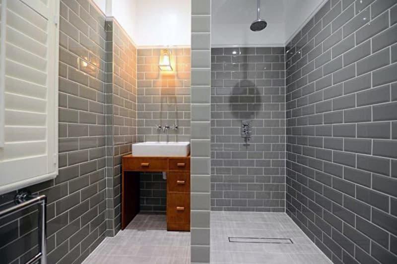 Плитка с имитацией кирпича в ванной комнате