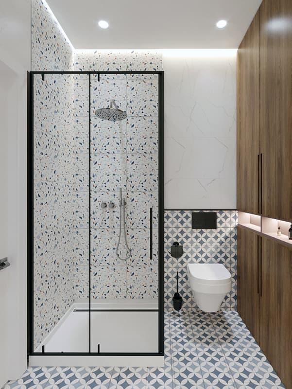 Підсвічування душової кабіни у ванній кімнаті