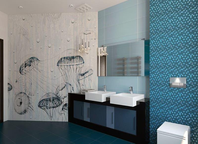 Пример ванной комнаты в морском стиле