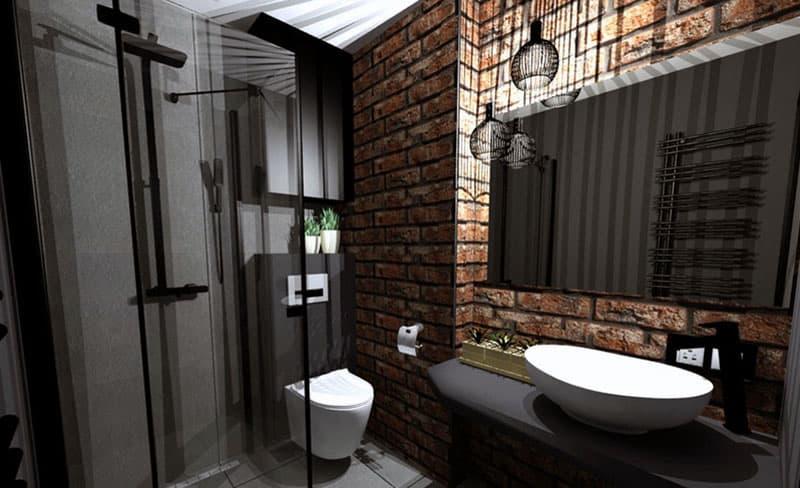 Пример ванной комнаты в стиле лофт