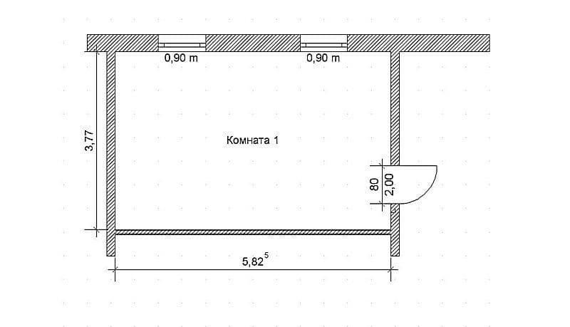Расчет площади в простой комнате