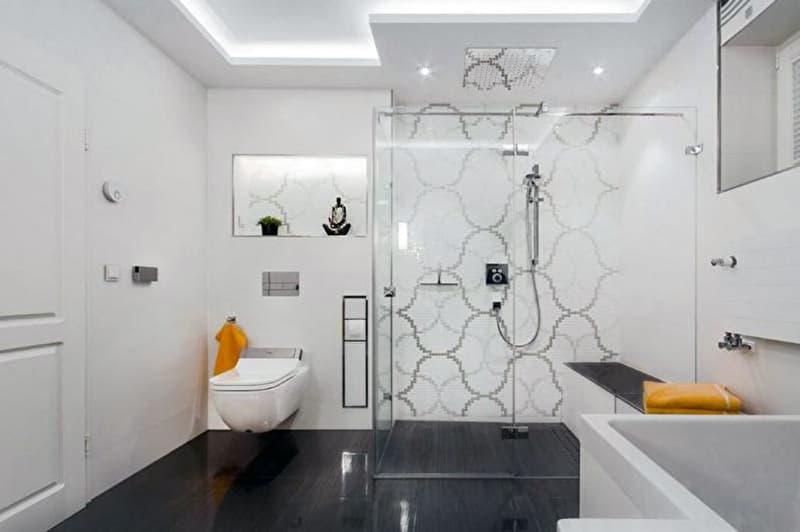 Реальный дизайн ванной комнаты в белых оттенках