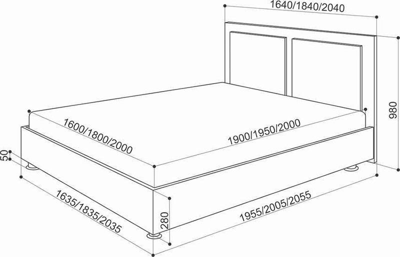 Вказівка розмірів ліжка і матраца