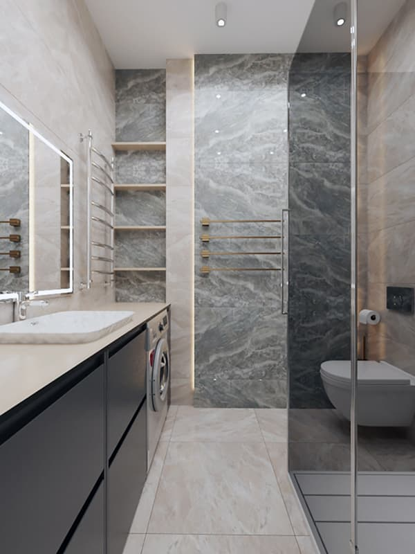 Ванна кімната з м'яким світлом